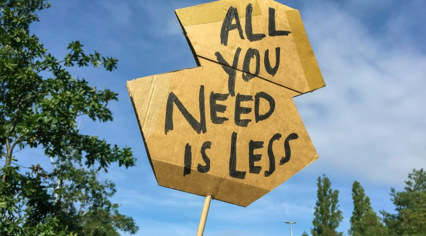 Image of a protest banner 'All You Need Is Less'